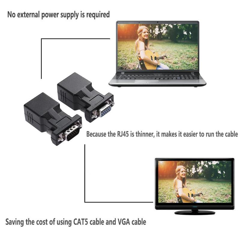 1 Pair VGA Extender Female/Male to Lan Cat5 Cat5e RJ45 Ethernet Female Adapters Converters Connectors for PC Desktop Promotion
