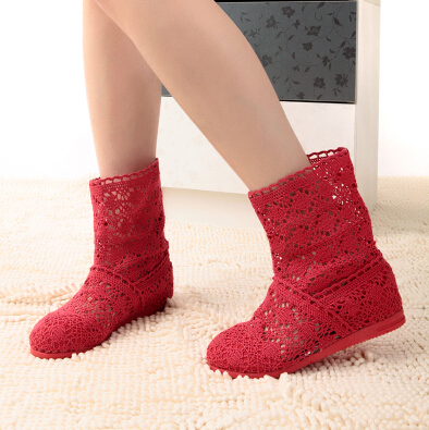 New 2014 Spring and Summer Women High-leg Boots Knitting Hollow ankle Boots women's flat shoes knitted shoes for women size35-41