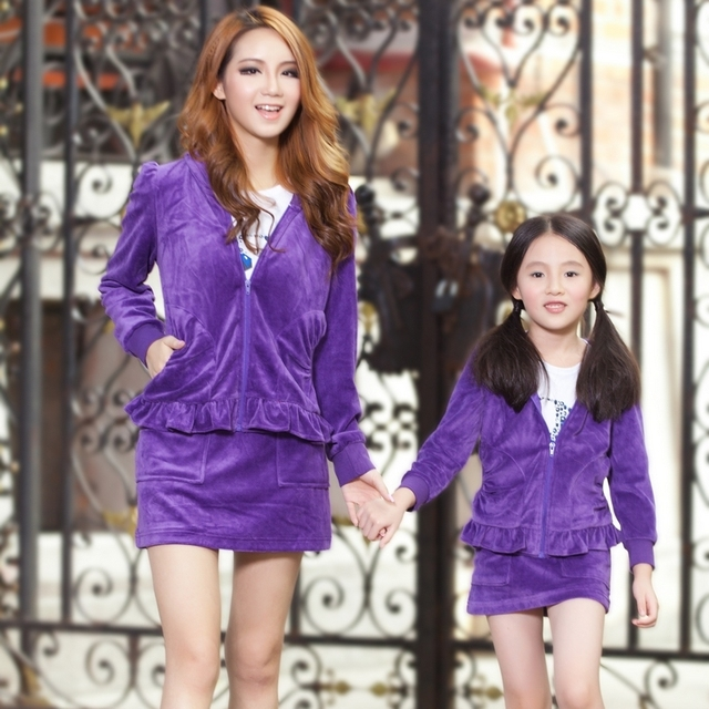 Family fashion 2013 spring and autumn family set family pack clothes for mother and daughter skirt set