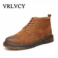 Retro Designer Luxury Genuine Leather Boots Men Black Ankle Boots Men Martins Men Shoes Leather Boots Botas Hombre