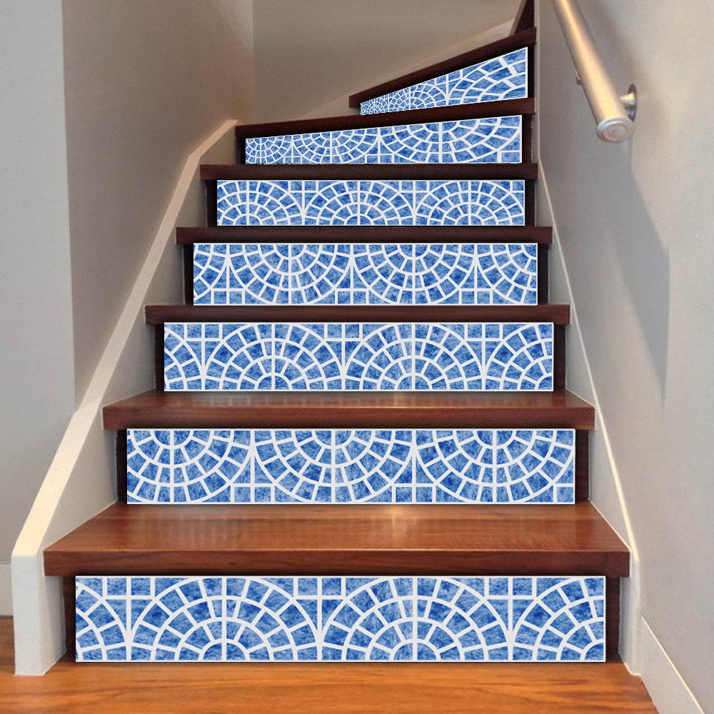 3d nortic pattern tile wall stairs stickers pvc removable waterproof ceramic wall sticker mural. Black Bedroom Furniture Sets. Home Design Ideas