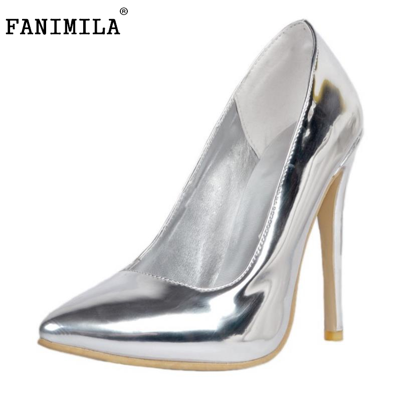 2016 Brand High Heels Patent Leather Women Pumps Fashoin Pointed Toe Sexy Ladies Shallow Mouth Stiletto Shoes Woman Size 34-47 facndinll new black patent genuine leather pointed toe rhinestone sexy high heels lace up women pumps ladies party casual shoes