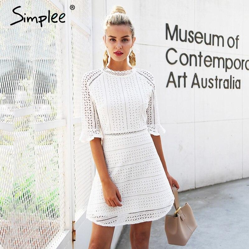 Simplee Elegante aushöhlen spitzenkleid frauen Halbe hülse sommer stil midi weißes kleid 2018 Frühling kurz casual dress vestidos