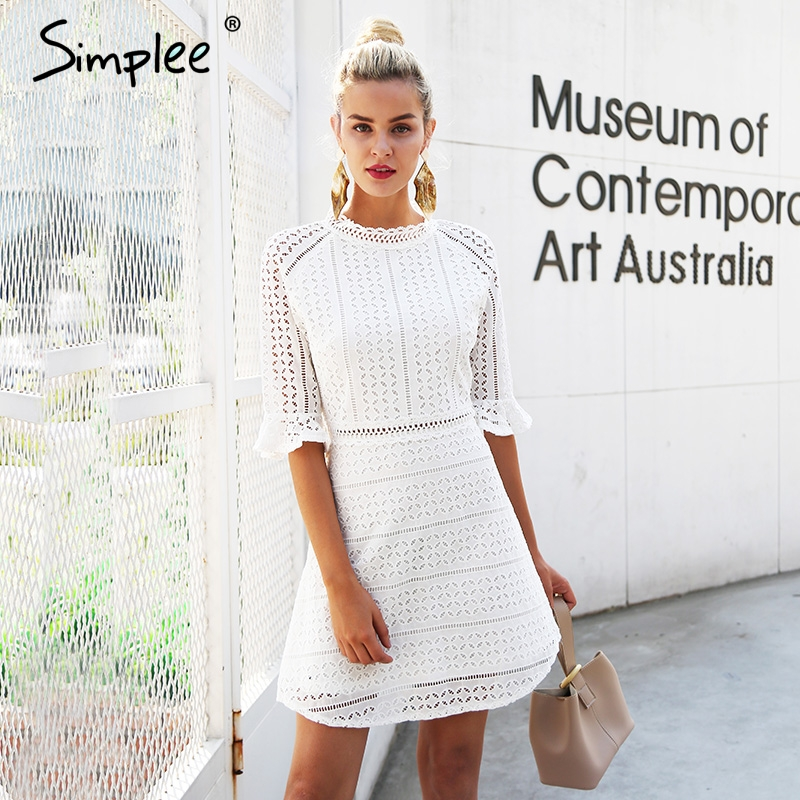 Simplee Элегантный открытое кружевное платье Женщины Половина рукава Летний стиль миди белое платье 2018 весенние Короткие повседневные платья vestidos