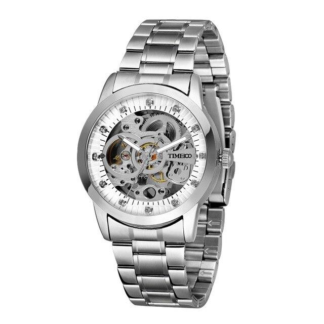 TIME100 - Mechanical Self Wind Skeleton Watch Stainless Steel