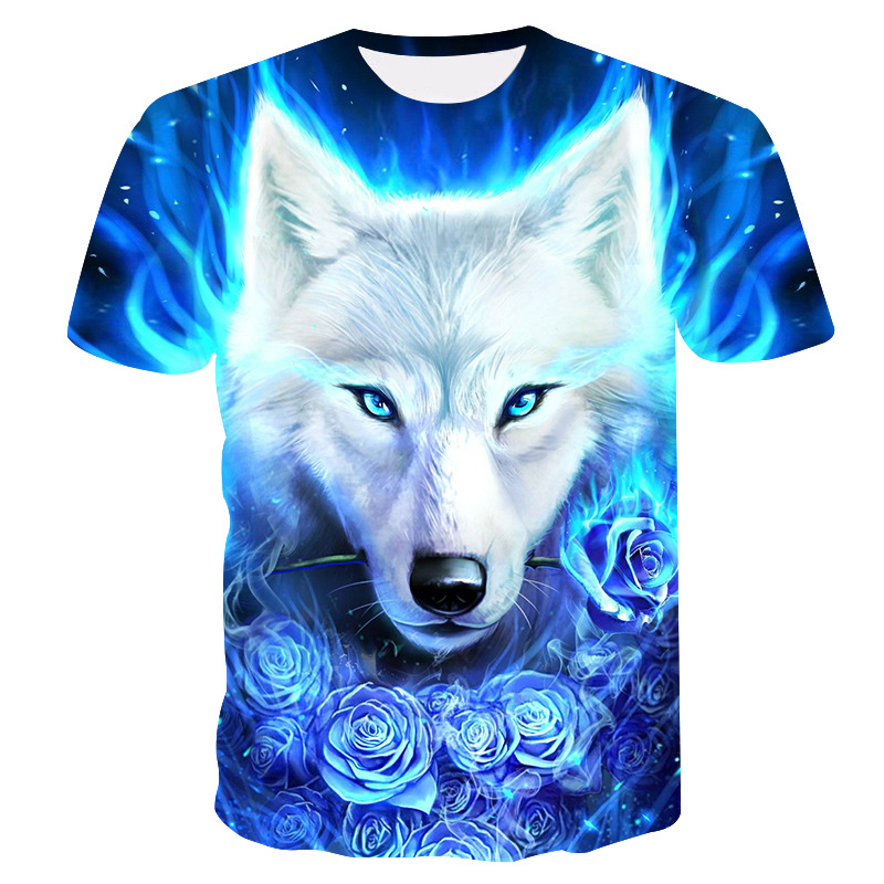 2019 Summer Kids 3D T Shirt Animal Wolf Head Blue Rose Lightning Fashion Children T-shirt Big Boy Girl Fashion Clothing Tee Tops