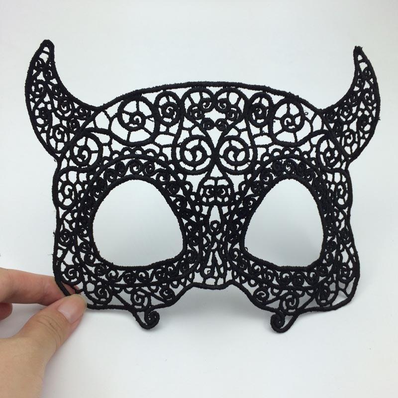 black lace cutout bull demon king eye mask carnival masquerade party mask halloween monster costume b - Black Eye Mask Halloween