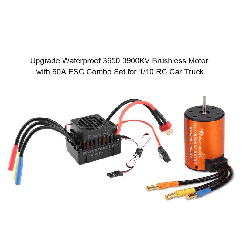 Waterproof Metal Brushless Motor 3650 3900KV 60A ESC Combo Set for 1 10 RC Car Parts