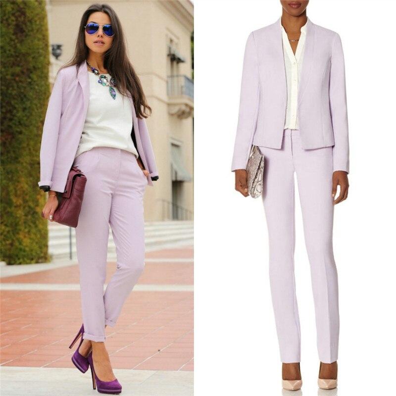 Lavender Business Pants Suits For Women Suits Office Uniform Designs Women 2 Piece Set Women Office Lady Suit Lady Uniform