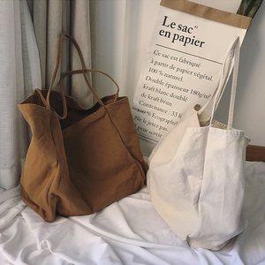 Image 3 - JIAOO Bolso de lona reutilizable para mujer, bolsas de la compra Bolso grande, bolso de mano femenino de alta capacidad, informal, bandolera de Color sólido