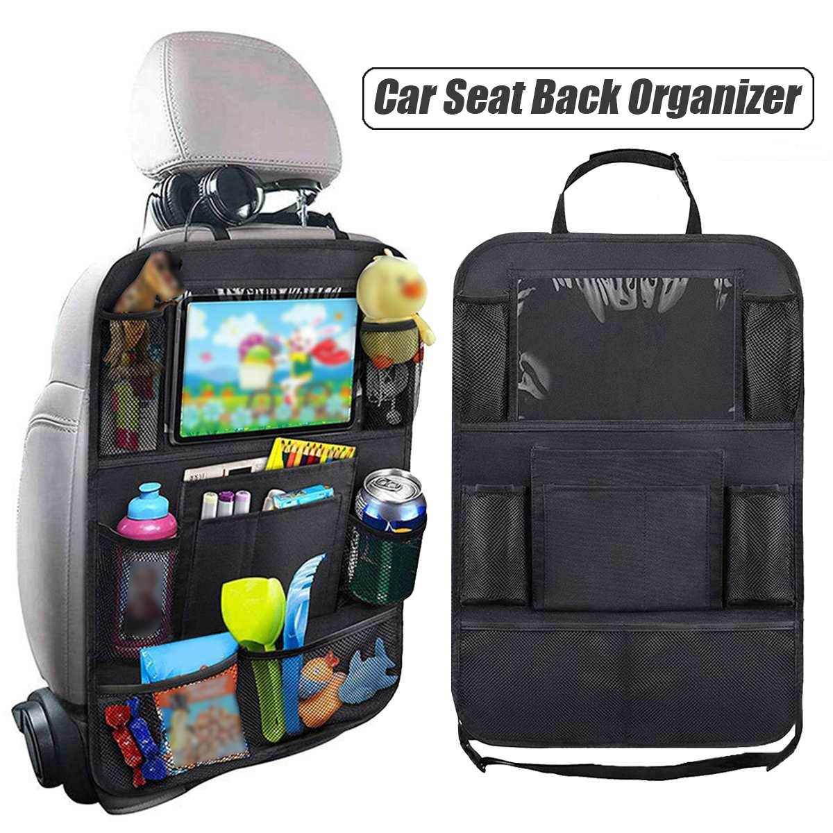 Car Rear Seat Back Organizer Storage Bag Oxford fabric Hanging Stowing Tidying Baby Kids Travel Universal Auto Multi-pocket Bag