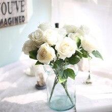 5pcs Artificial Rose Silk Velvet Flower Blossom Bridal Bouquet for Home Wedding Decor (Red) толстовка wearcraft premium унисекс printio кейси джонс