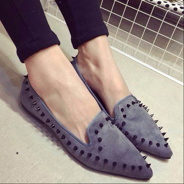 Women's Flats 2015 Brand Fashion Ladies Sexy Leopard Rivets Loafers Woman Punk Pointed Toe Oxfords Shoes Mujer Zapatos women ladies flats vintage pu leather loafers pointed toe silver metal design