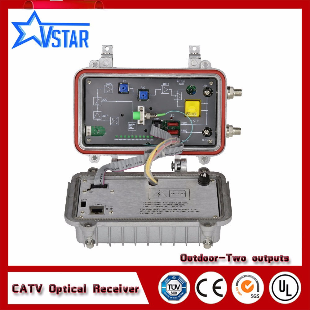 Catv  Outdoor Fiber Optical  Node  2 Outputs AGC Optical Receiver