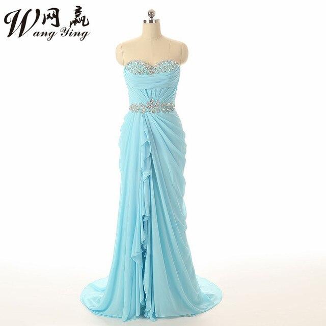 6f59ffd3d62 Prom Dresses 2017 Sleeveless Chiffon Light Blue Graduation Dress Robe Bal  De Promo Long Ombre Prom Dress