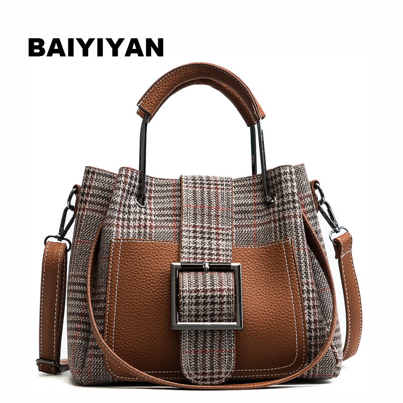 New Arrival High Quality PU Leather Women Bag Shoulder Bags Plaid Handbag Large Capacity Metal Top-handle Tote Bags open shoulder plaid top