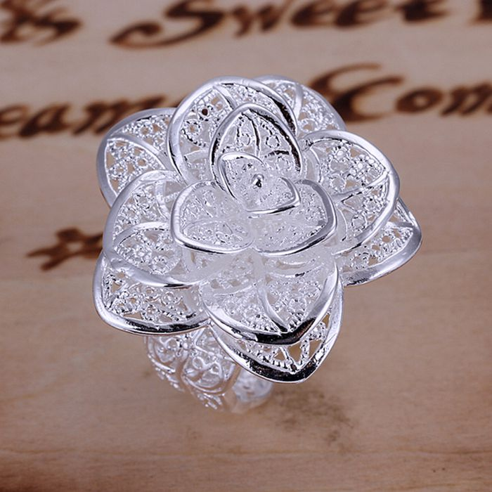 925 jewelry silver plated jewelry ring fine nice flower ring top quality wh..