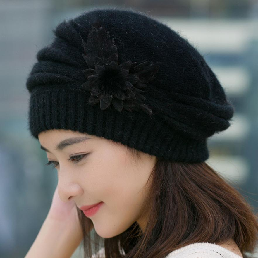 Fashion Women Spring Winter Hats Beanies flower Knitted Cap Crochet Hat Ear Protect Casual Cap Chapeu Feminino  gift