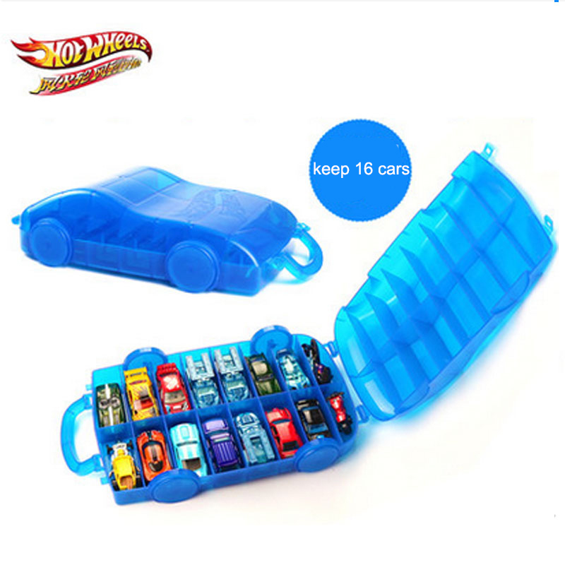 Hot Wheels Car Model Portable Plastic Storage Box Toy Hotwheels Cars Movable Parking Lot Two Way Folding Models Holds 16 Cars