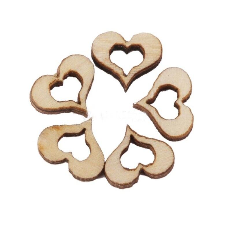 Wedding Decoration Blank Hollow Heart Wooden Embellishments DIY Crafts