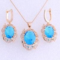 Luxury Style Blue Sky Topaz Cubic Zirconia 18K Yellow Gold Plated Drop Earring Pendant Jewelry Sets