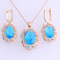 Luxury Style Blue Sky Imitation Topaz Cubic Zirconia Yellow Gold Plated Drop Earring / Pendant Jewelry Sets for Women X0031