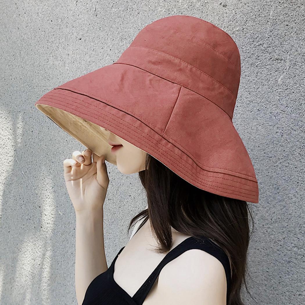 Outdoor Casual Fisherman Hat Wide Brim Reversible Plain Cot Linen Bucket  Hats Women Jungle Hiking Cap Ladies Beach Buckle Hat da5d02a2e8b2