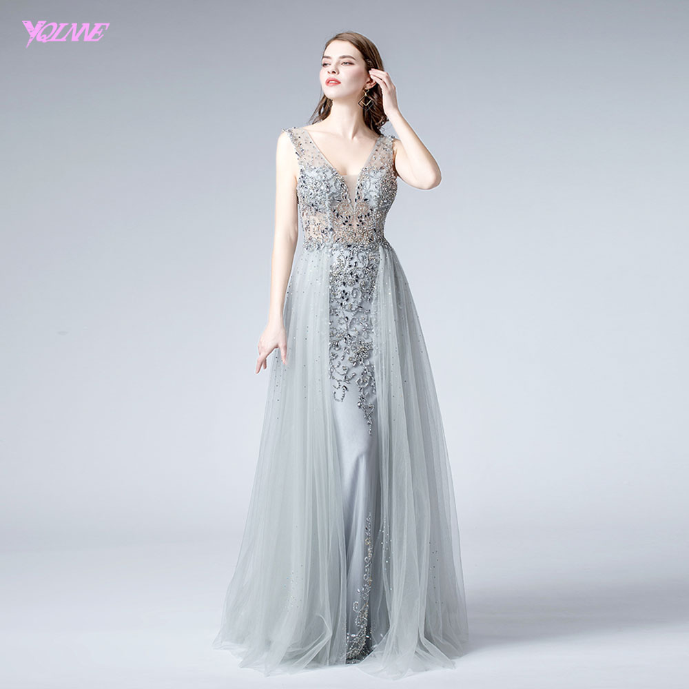 YQLNNE 2019 Silver Long   Evening     Dress   Sexy V Neck Crystals Tulle   Evening   Gown Formal   Dresses