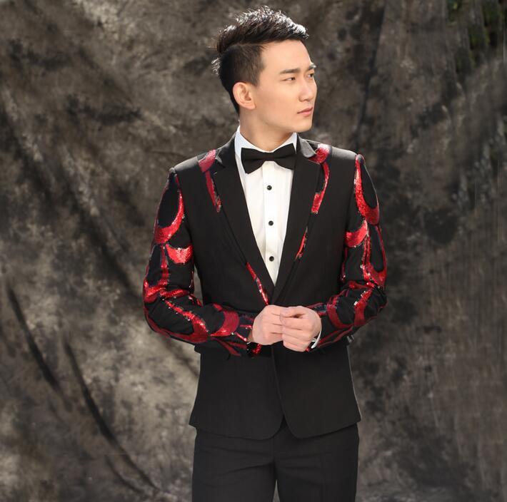 Noir hommes costumes designs masculino homme terno scène costumes pour chanteurs hommes sequin blazer poissons écailles veste star style robe