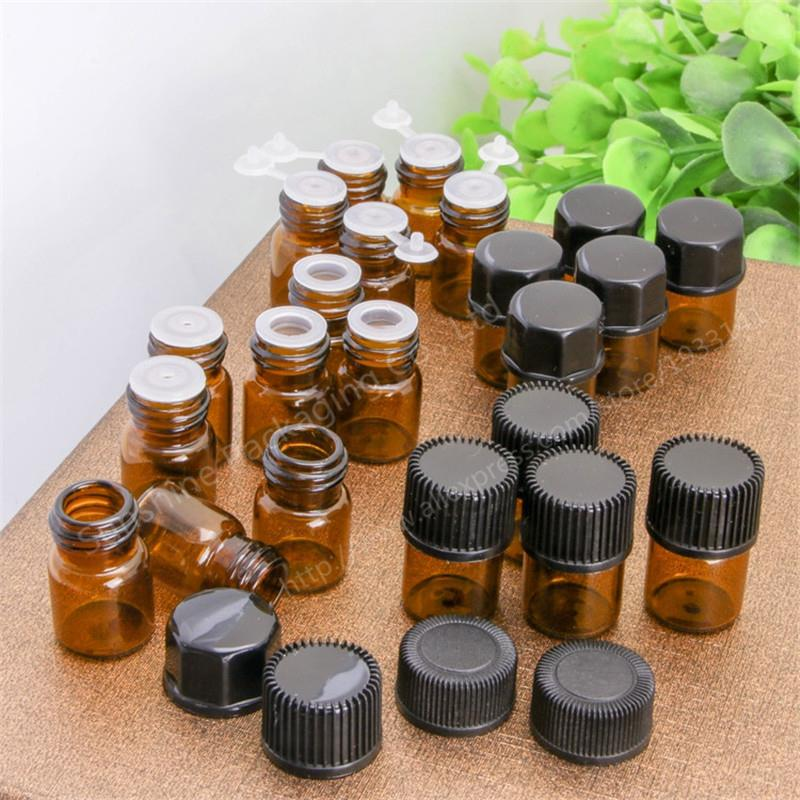 500pcs Small Amber Essential Oil Bottle With Plastic Lid 1ml empty Glass Bottle Mini Brown Glass
