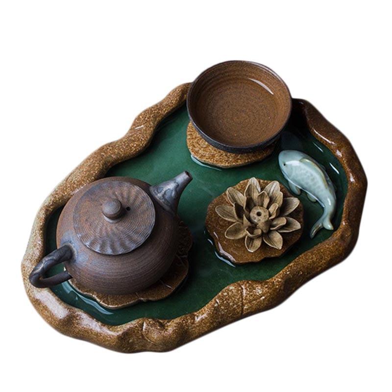 Vintage céramique grossière poterie petit plateau à thé créatif stockage de l'eau plateaux à thé Kung Fu thé ensemble thé tasse théière détenteurs décor à la maison