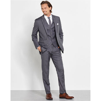 Custom Made Formal Gray 3 Piece Suits Slim Groom Tuxedos Groomsmen Mens Wedding Suits Men Suits (Jacket+Vest+Pants) Y319