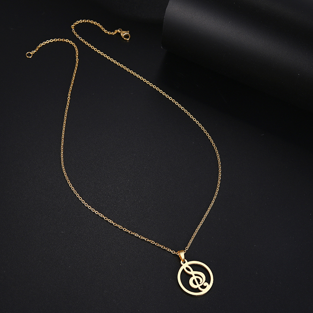 HTB1kmegboT1gK0jSZFrq6ANCXXaG - DOTIFI  Stainless Steel Necklace For Women Man Musical Symbol Gold And Silver Color Pendant Necklace Engagement Jewelry