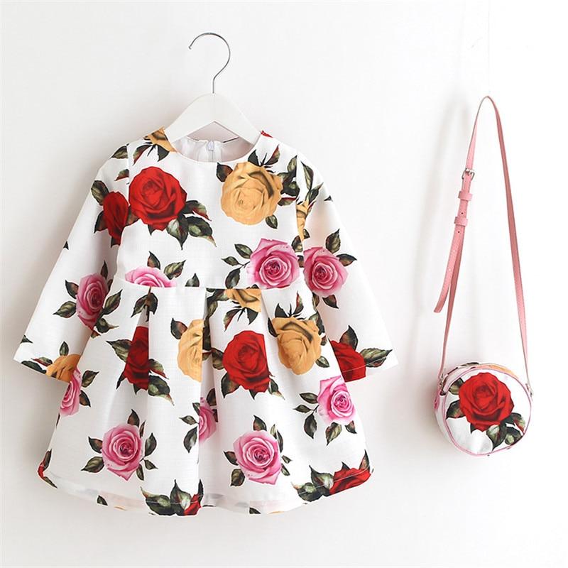 Girl Christmas Dress 2017 Spring Autumn Long Sleeve Floral Print Toddler Girl Dresses Kids Clothes Children Dress with Bag stylish long sleeve pea print girl s dress