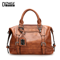 DIZHIGE Brand Vintage Boston Women Handbags Designer PU Leather Bags Women High Quality Ladies Hand Bag