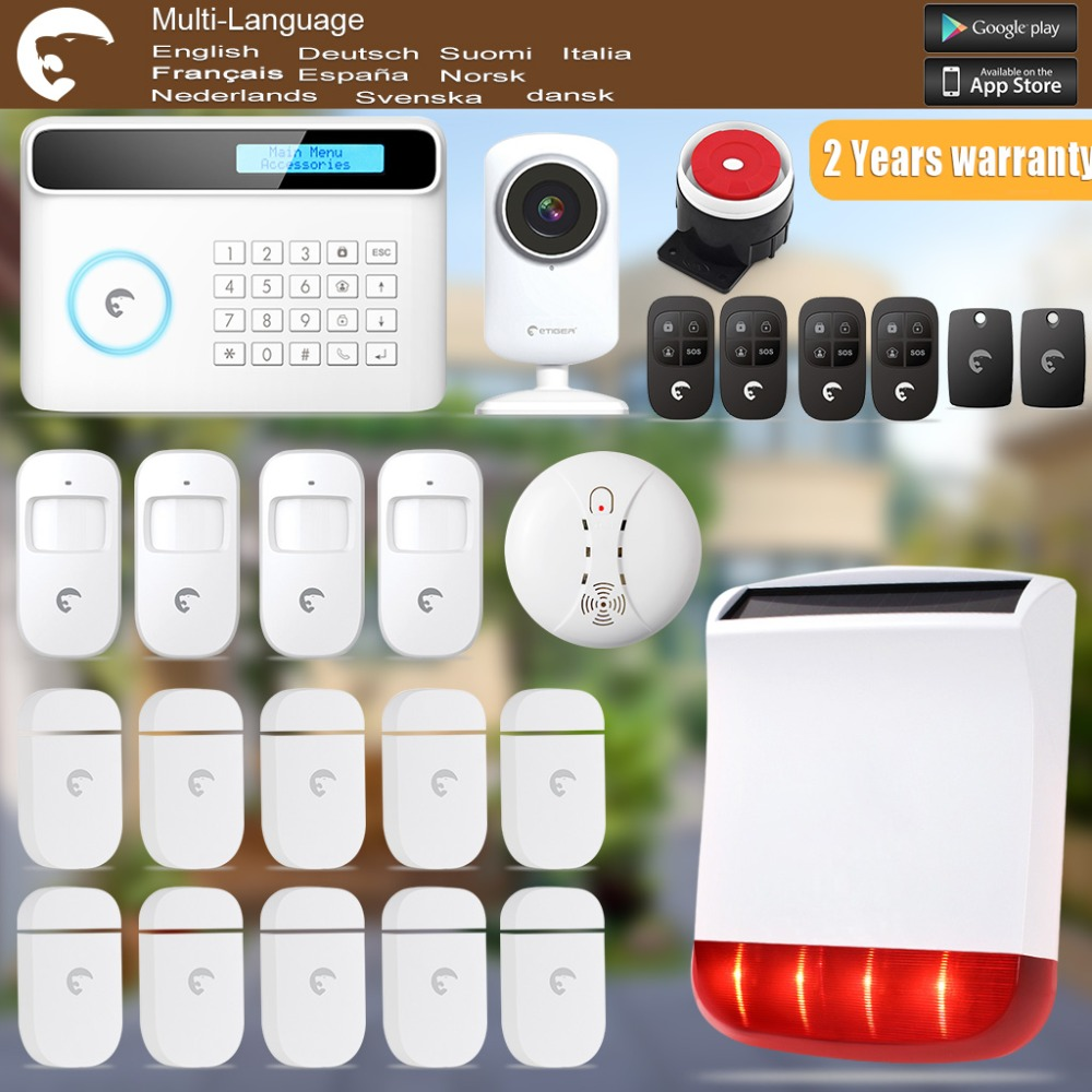 Etiger  Solar Power Strobe Siren  GSM/PSTN Wireless Alarm System For Home/Office WiFi Network Camera