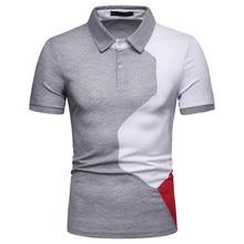 057e3b92e 2019 Summer Brand Men's Polo Shirt Short Sleeve Slim Splicing Painting  juventus lapel Blouse