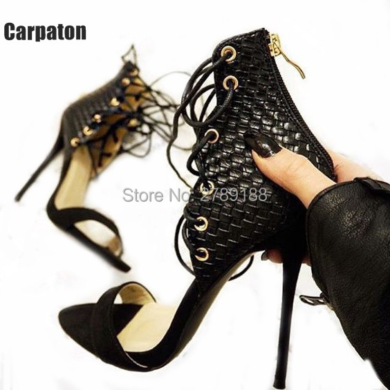 Hot Sale Newest Designed Patchwork Open Toe High Heel Sandals Lace Up Gladiator Shoes Woman Ankle Strap Sandals With Real Photos hot sale open toe high heel sandal lace up gladiator strappy sandals new arrival spring autumn flock dress shoes women