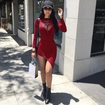 Women Dresses Long Sleeve Irregular Sexy Slim Hollow Out Night Club Dress WS3768R