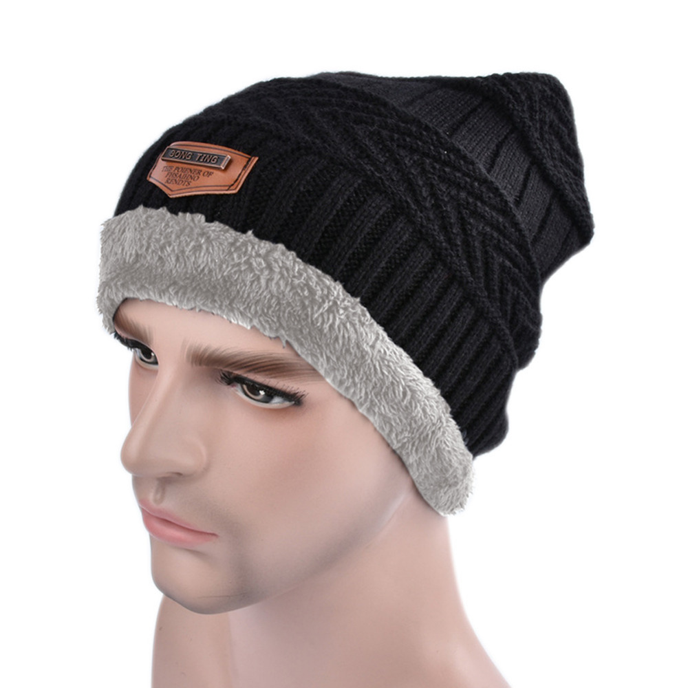 Winter Men Knitted Hat Stretch Thicken Bonnet Warm Wool Man Casual Caps Skullies Beanies  JL