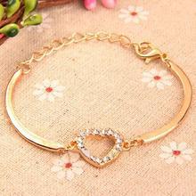 5PCS Women's Gold Tone Crystal Rhinestone Love Heart Charm Chain Bracelet Bangle Gift 746W