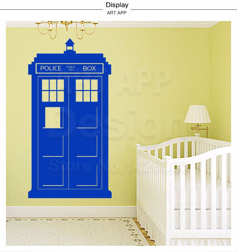 Art new design home decor vinyl police box wall sticker colorful ...