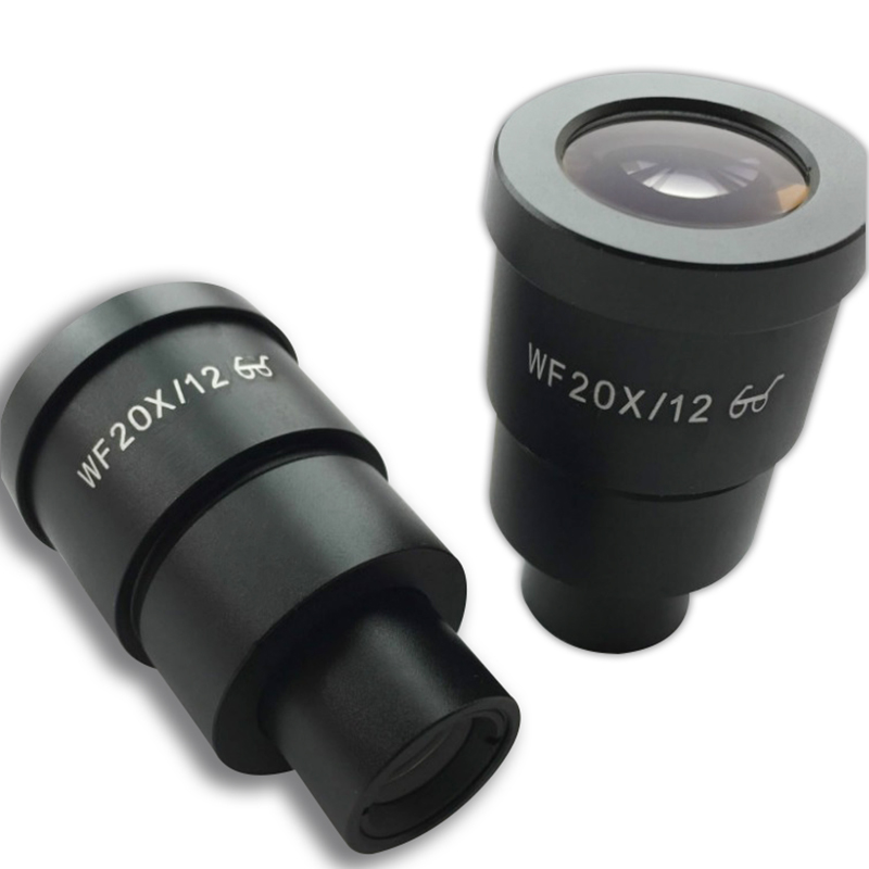 Two Pieces WF20X/12 High Eye-point Eyepiece Lens for Stereo Microscope Wide Field Mounting Diameter 30.5 mm Field of View 12mm