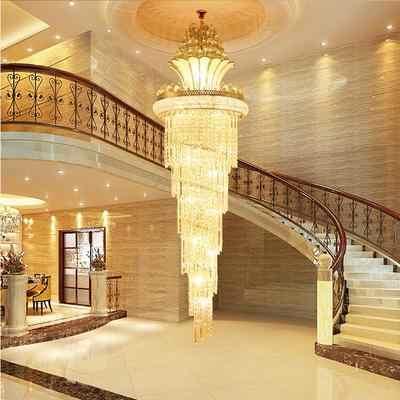 ขนาดใหญ่ Imperial K9 คริสตัลโคมระย้าสำหรับโรงแรม Hall ห้องนั่งเล่นบันไดแขวนโคมไฟยุโรป Big แสง