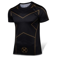 2016NEW X Men Apocalypse Short sleeved O neck t shirt men cos anime deadpool t shirts Tight fitting fitness men t shirt