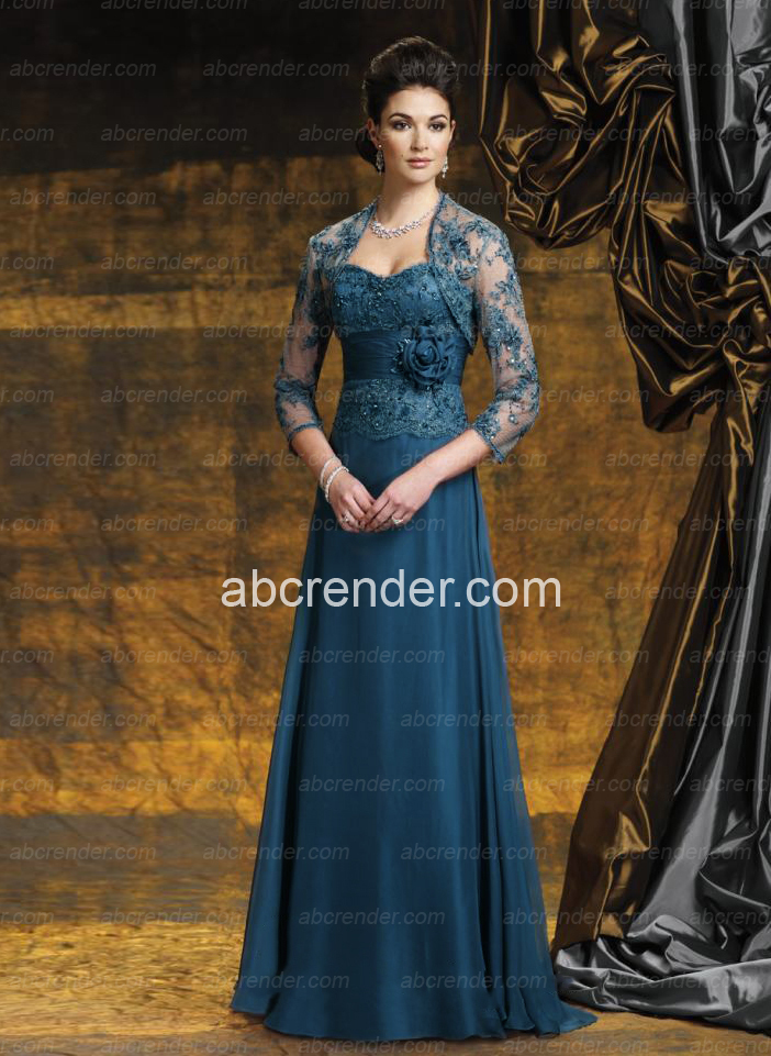2016 Hot Charming Sexy Elegant Chiffon A Line Delicate Appliques Beading Flower With Jacke Floor Length