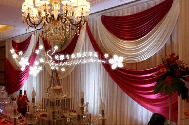 Luxus weiße und rote Hochzeit Hintergrund Bühnenvorhang 10ft * - Partyartikel und Dekoration