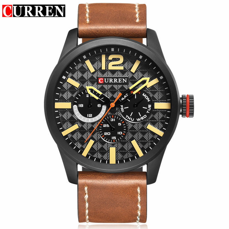 CURREN Mens Watches Top Brand Luxury Black Quartz Watch Men Casual Sport Clock Male Wristwatch Waterproof Leather Relogios 8247 2016fashion top luxury brand unique vogue mens quartz watches wooden outdoor sport watches clock casual wood watch