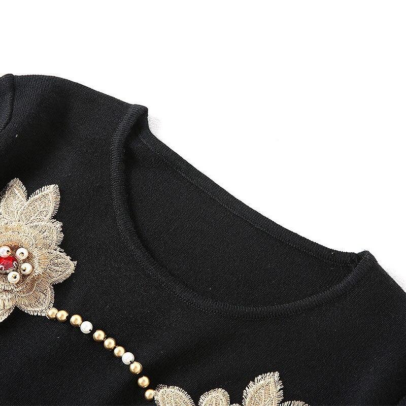 l mantel neue perlen t 2018 Hohe oansatz kurze herbst mode qualit blume stickerei mid ankunft frauen dress ssig kalb gedruckt und jLSpGzVqUM