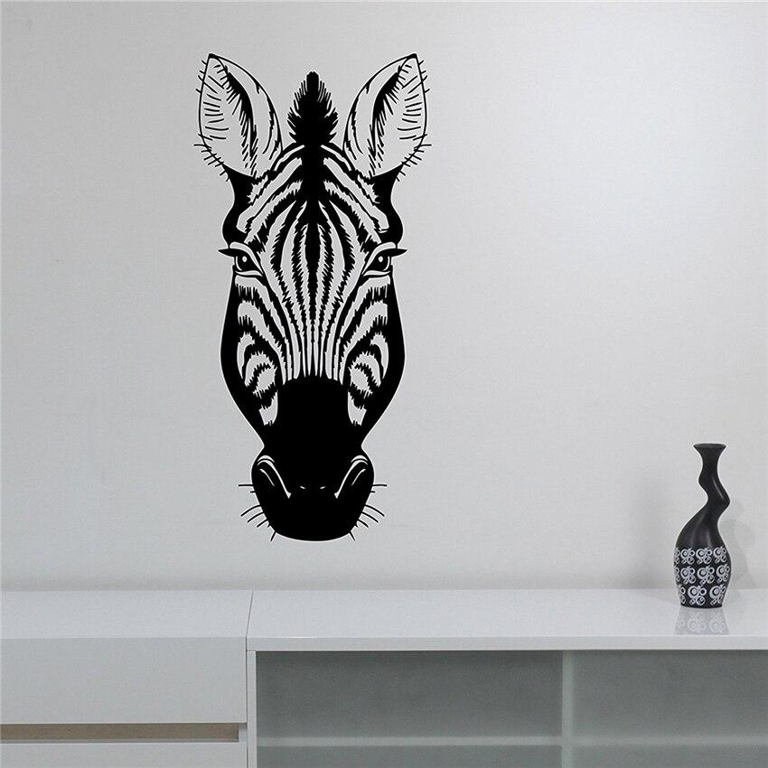 Hot Sale Zebra Head Vinyl Wall Sticker Decal African Wildlife Art ...
